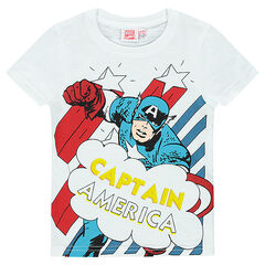 Short-sleeved, slub tee-shirt with Marvel Captain America print.
