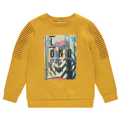 Junior - Fleece sweatshirt with pleats and print