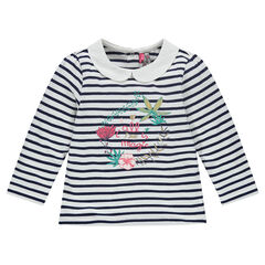 Long-sleeved, striped tee-shirt with Peter Pan collar and embroidery