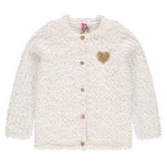 Fur-effect popcorn knit cardigan with sequined heart