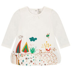 Puffball tunic with print