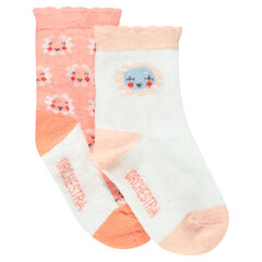 Set of 2 pairs of socks with flowers