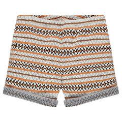 Junior - Jacquard shorts with ethnic print