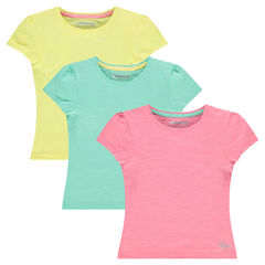 Set of 3 short sleeve plain-color T-shirts