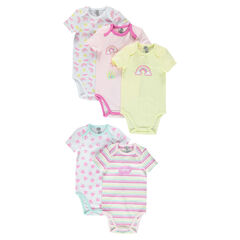 Set of 5 original bodysuits featuring decorative print with opening adapted according to the age
