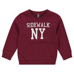 Fleece sweatshirt with crinkled writing effect