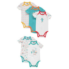 Set of 5 short-sleeved jersey bodysuits.