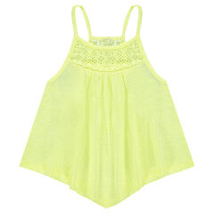 Junior - Loose-fit tank top in slub jersey with lace
