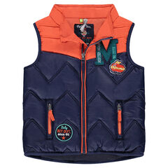 Sleeveless down jacket with hotdog and hamburger badges