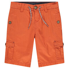 Plain-colored twill bermuda shorts with pockets