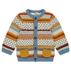 Knit jacket with sherpa lining and jacquard motif