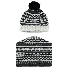 Sherpa-lined cap and snood ensemble