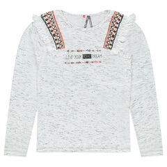 Junior - Long-sleeved tee-shirt with ethnic print and fringes