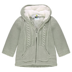 Sherpa-lined knit jacket with hood and ©Smiley motif