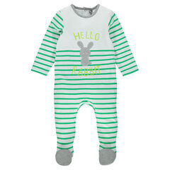 Striped jersey footed sleeper with patched rabbit