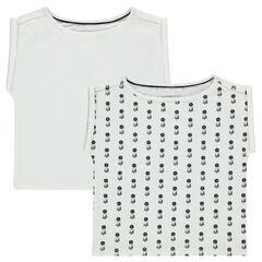 Set of 2 short-sleeved box cut plain-colored/printed tee-shirts