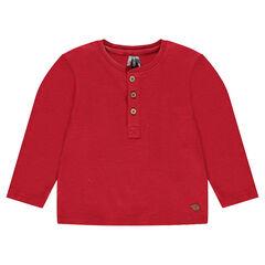 Long-sleeved cotton tee-shirt with Tunisian collar