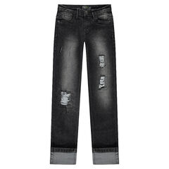 Junior - Used-effect slim fit jeans with decorative tears