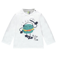 Long-sleeved jersey tee-shirt with printed hamburger