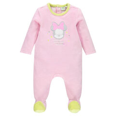 Velvet footed sleeper with a Disney Minnie Mouse print and opening adapted according to the age