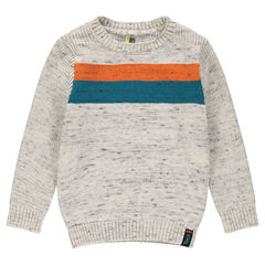 Mixed stitch sweater with contrasting bands