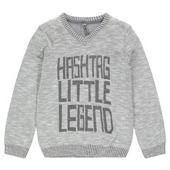 Slub knit sweater with a printed message