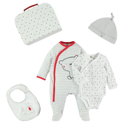 Newborn box set with bodysuit - bonnet - bib and outfit