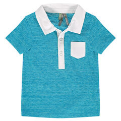 Short-sleeved heather blue polo shirt with twill collar and pocket