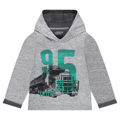 Long-sleeved tee-shirt with hood and truck print