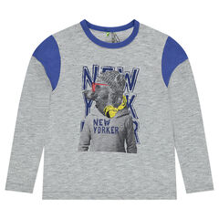 Junior - Long-sleeved jersey tee-shirt with printed bear