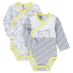 Set of 2 long sleeve printed jersey bodysuits