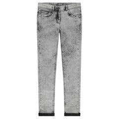 Junior - Snow wash-effect slim fit jeans