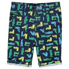 Poplin bermuda shorts with printed crocodiles