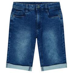 Junior - Used denim-effect fleece bermuda shorts