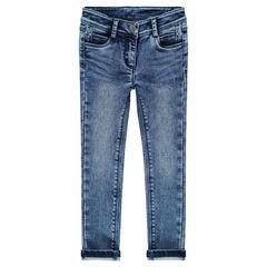 Denim-effect slim fit fleece jeans