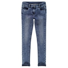 Junior - Denim-effect slim fit fleece jeans