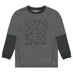 Junior - 2-in-1 effect fleece sweatshirt with printed clocks