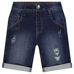 Used-effect denim bermuda shorts with pockets