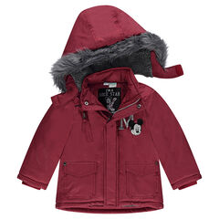 Sherpa-lined hooded parka with fake fur