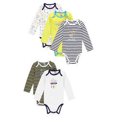 Set of 5 matching long-sleeved bodysuits with deer motif