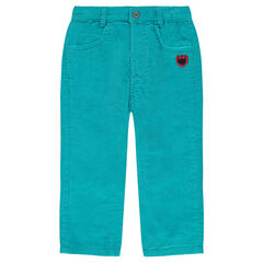 Corduroy pants with print patch