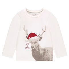 Long-sleeved tee-shirt with moose print