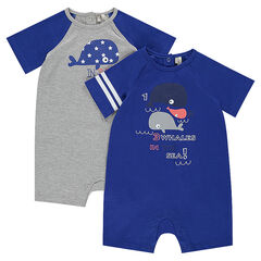 Set of 2 jersey rompers with printed whales
