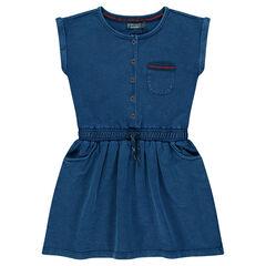 Junior - Short-sleeved slub fleece dress
