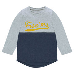 Junior - Long-sleeved two-tone tee-shirt with print