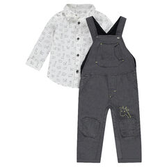 Ensemble with canvas overalls and shirt with allover motif