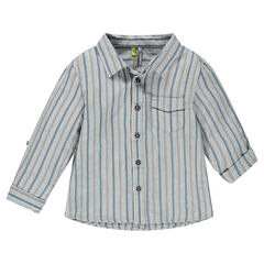 Long-sleeved striped shirt with pocket