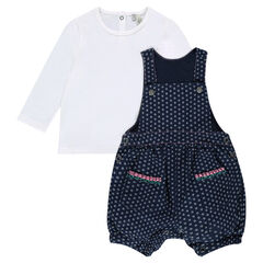 Ensemble with tee-shirt and short printed overalls