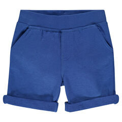 Plain-colored, light fleece bermuda shorts
