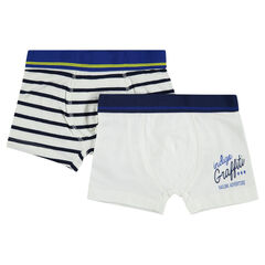 Set of 2 plain-colored/striped cotton boxers